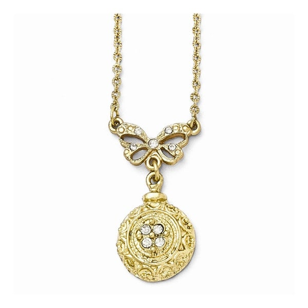 Goldtone Clear Glass Necklace - 16in