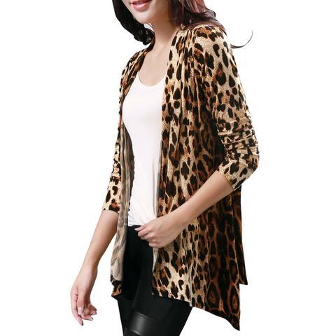 Unique Bargains Women Long Sleeves Open Front Leopard Prints Cardigan - Beige Coffee