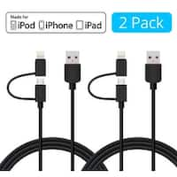 [2-Pack] Skiva USBLink Duo (3.2ft) 2-in-1 Sync / Charge Cable with Lightning and microUSB for Apple and Android Devices - Black