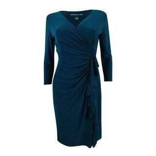 American Living Women's Ruffled Sheath Dress - Blue