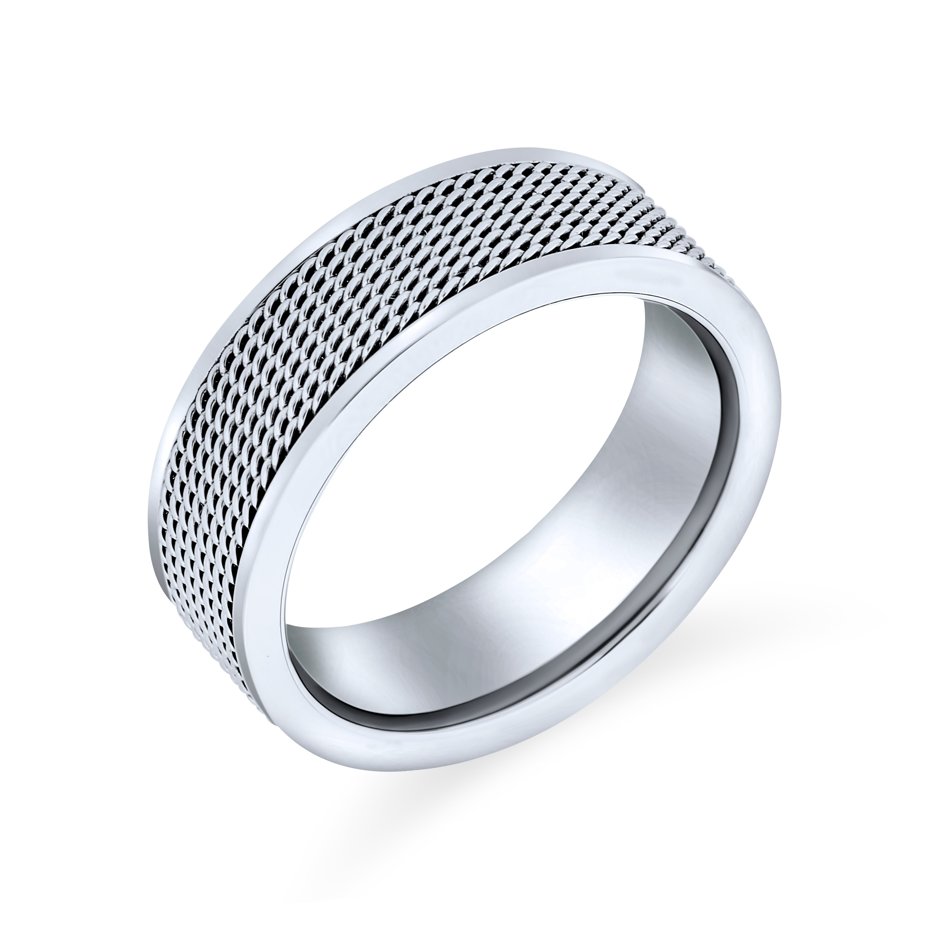 8mm Stainless Steel Chain Inlay Wedding Band Biker Ring