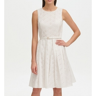 Tommy Hilfiger Womens Dress A-Line Eyelet Belted Fit & Flare