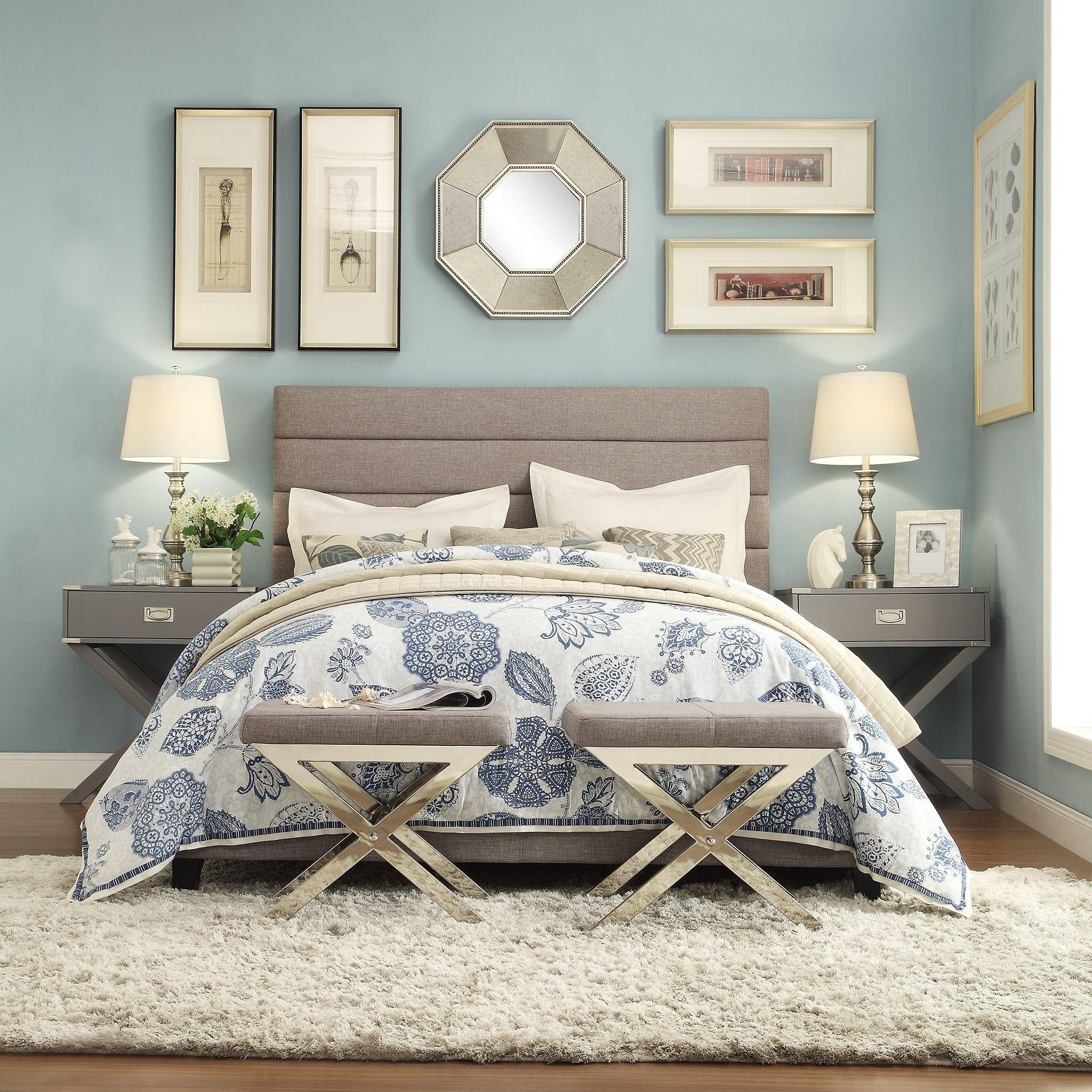 Corbett Horizontal Tufted Gray Linen Upholstered Headboard By Inspire Q Classic On Sale Overstock 10001245 Full