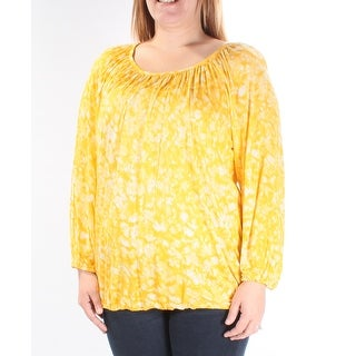 Womens Yellow Tie Dye Long Sleeve Jewel Neck Casual Blouse Top Size L