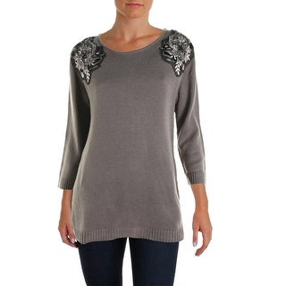 Cable & Gauge Womens Long Sleeves Sequined Pullover Sweater