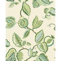 York Wallcoverings WA7764 Waverly Classics Fantasy Fleur Wallpaper - eggshell/white/milk chocolate/aqua/kiwi - N/A
