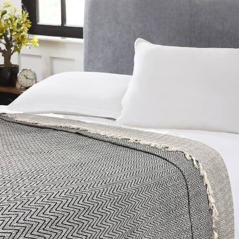 Maxine Chevron Black Cotton Blanket