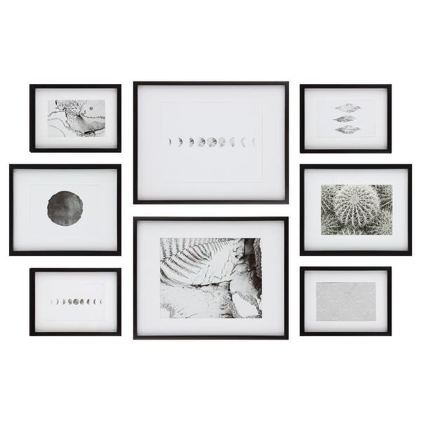 8 Piece Gallery Wall Frame Set With Decorative Art Hanging Template Overstock 31814758
