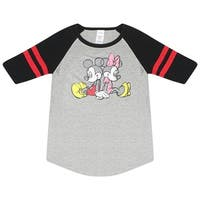 Disney Mickey And Minnie Mouse Holding Hands Women's Grey Jersey Red Stripes