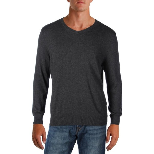 John Ashford Mens Pullover Sweater Heathered V-Neck