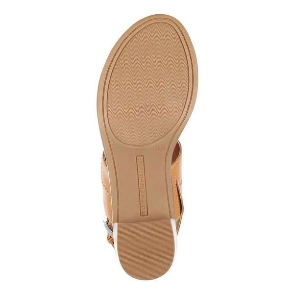 Tommy Hilfiger Womens kellia Leather Open Toe Casual Slingback, Tan, Size 8.0 - 8