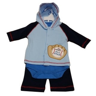 Bon Bebe Baby Boys Blue All Star Baseball Bodysuit Hooded Top 3 Pc Pant Set 3-9M