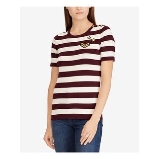 RALPH LAUREN Womens Maroon Striped Short Sleeve Sweater  Size XS