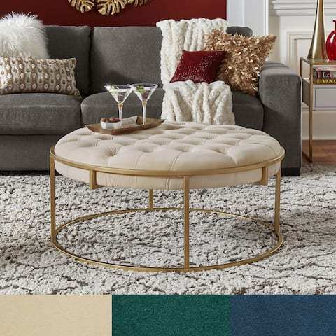 Perdita Gold Finish Velvet Round Tufted Cocktail Ottoman by iNSPIRE Q Bold