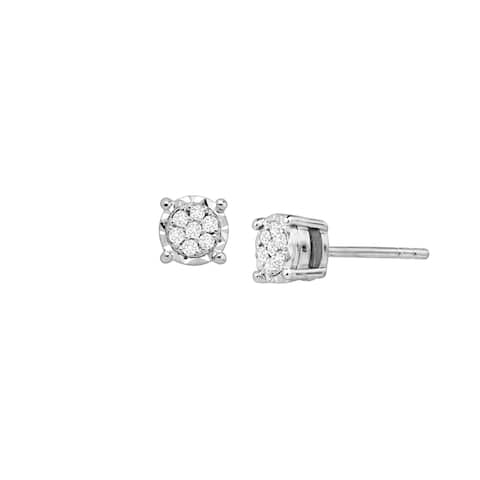 1/10 ct Diamond Composite Round Stud Earrings in Sterling Silver