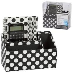 Black With White Dots - Magnetic Desk Organizer Set 5pcs