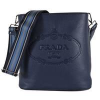 865257cb6c9423 Prada 1BE023 Vitello Secchiello Blue Leather Embossed Logo Crossbody Purse