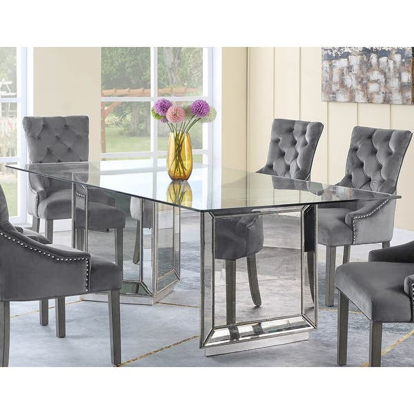 Best Master Furniture 96 Inch Silver Glass Dining Table Overstock 22270551