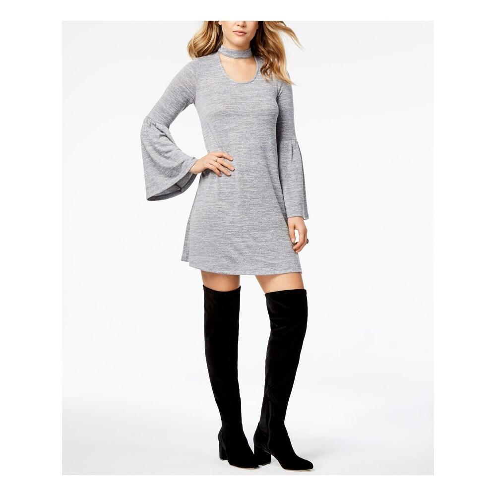 KENSIE Womens Gray Bell Sleeve Scoop Neck Mini Shift Dress Size L