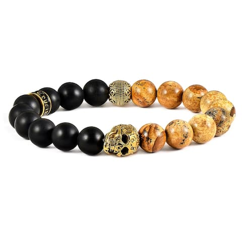 Matte Onyx and Natural Stone Gold Plated Skull Stretch Bracelet (10mm)