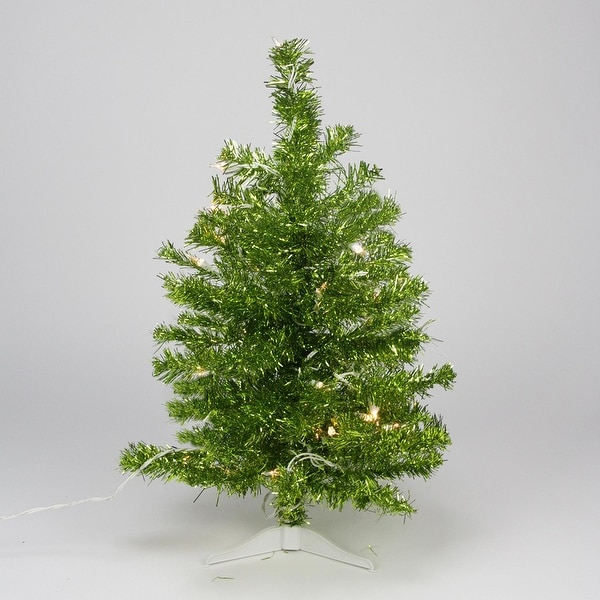 2' Pre-lit Pardise Lime Green Tinsel Pine Artificial Christmas Tree - Clear Lights