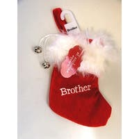 "7"" Red & White ""Brother"" Embroidered Mini Christmas Tree Stocking"