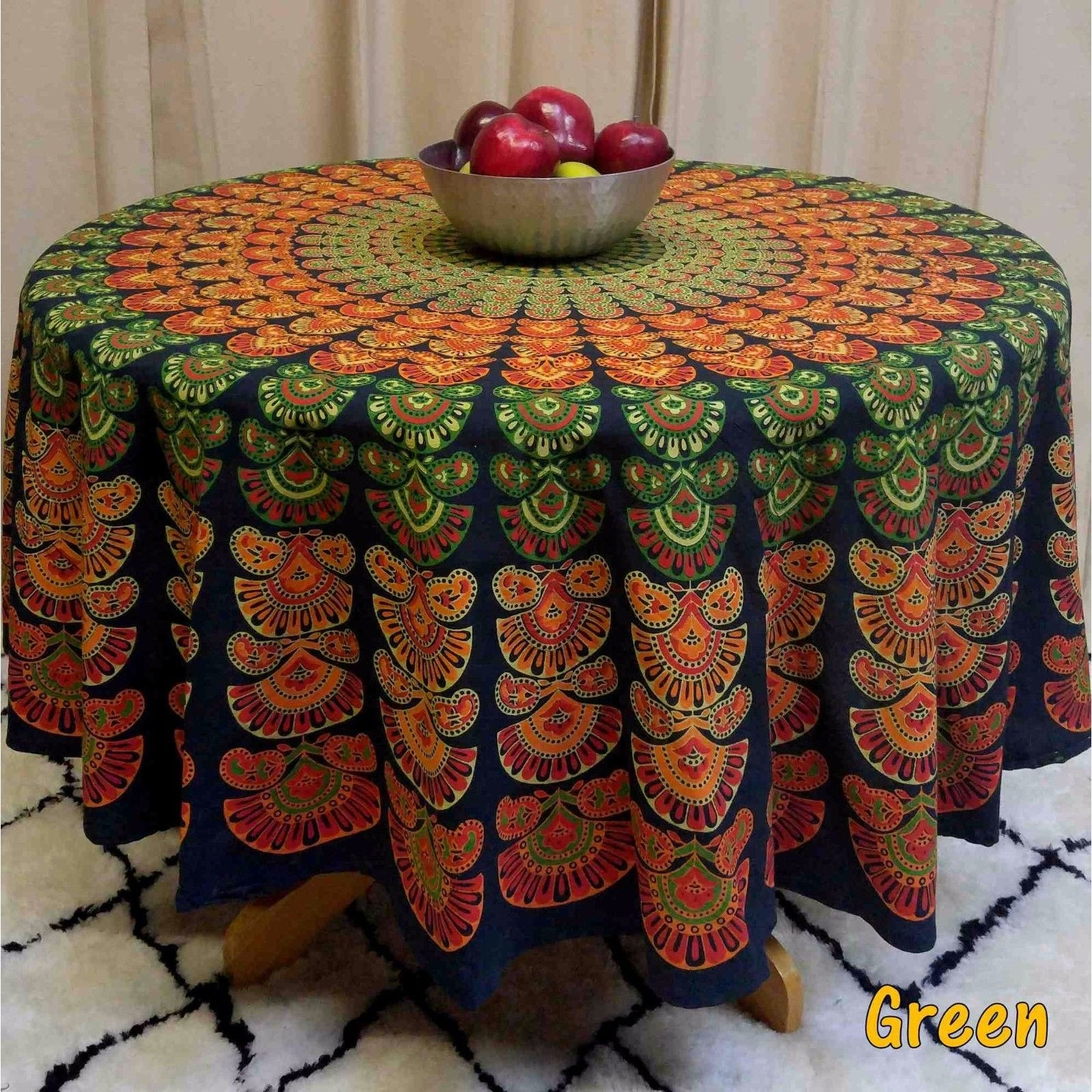 "Handmade Sanganer Peacock Mandala 72"" Round Cotton Tablecloth Gorgeous Blue Green Red - Thumbnail 1"