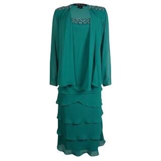 S.L. Fashions Women's 2PC Beaded Lace Tier Jacket Dress