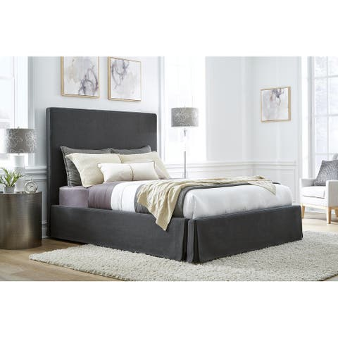 Cheviot Upholsterd Skirted Storage Panel Bed in Iron