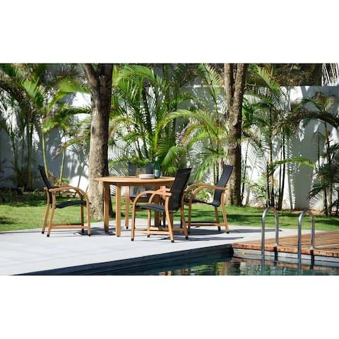 Lifestyle Garden 5-Piece Outdoor Wood-Sling Dining Set (Teak Finish)