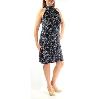 Womens Navy Sleeveless Above The Knee Sheath Wear To Work Dress Size: 2