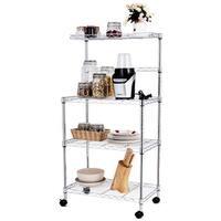 Costway 3-Tier Kitchen Baker's Rack Microwave Oven Stand Storage Cart Workstation Shelf - sliver