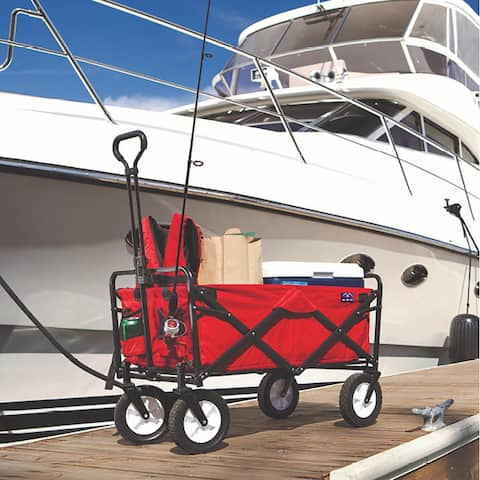 MacSports Collapsible Folding Outdoor Utility Wagon, Red