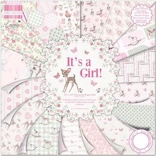 "First Edition Premium Paper Pad 12""X12"" 48/Pkg-It's A Girl, 16 Designs/3 Each"