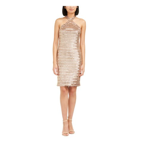 TRINA TURK Gold Sleeveless Above The Knee Body Con Dress Size 14