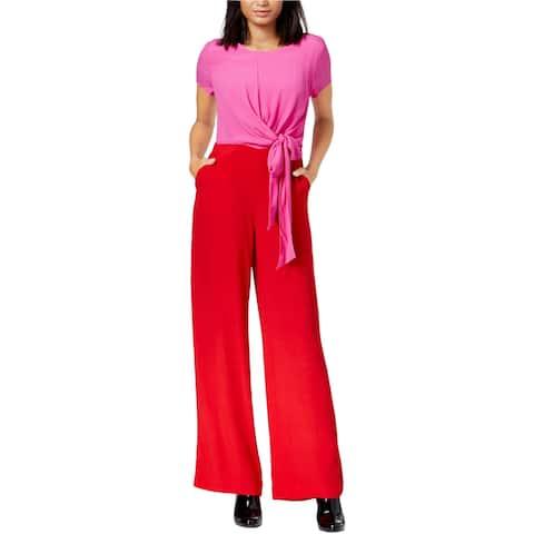 Maison Jules Womens Colorblocked Tie-Front Jumpsuit