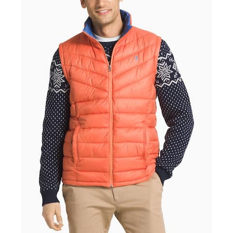 IZOD Mens Jacket Orange Size Small S Puffer Full-Zip Quilted Vest