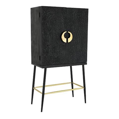 Aurelle Home Modern Mango Wood Black and Brass Bar Cabinet