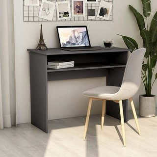 "Link to vidaXL Desk Gray 35.4""x19.6""x29.1""Chipboard Similar Items in Desks & Computer Tables"