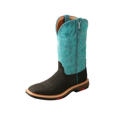 """Twisted X Work Boots Womens 11"""" Leather WS Turq Charcoal - Turquoise Charcoal"""