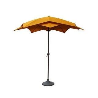 8.2' Outdoor Patio Lotus Umbrella with Hand Crank - Yellow