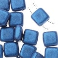 CzechMates Glass, 2-Hole Square Tile Beads 6mm, 1 Strand, Metallic Blue Suede - Thumbnail 0