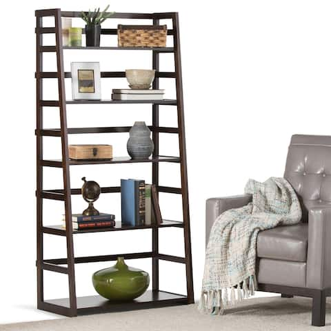 "WYNDENHALL Normandy SOLID WOOD 63 inch x 30 inch Rustic Ladder Shelf Bookcase - 30""w x 15.9""d x 63""h - 30""w x 15.9""d x 63""h"