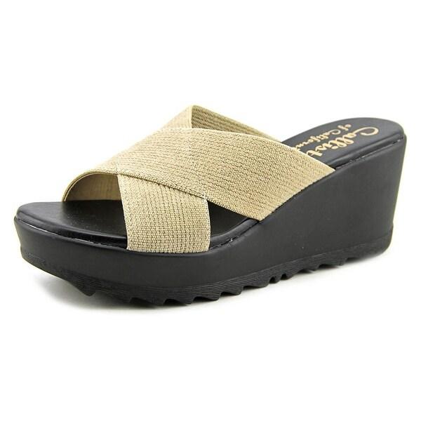 Callisto Landis Women Open Toe Synthetic Tan Slides Sandal