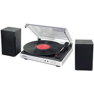 Jensen JTA-325 3-Speed Turntable with Stereo Speakers, Silver