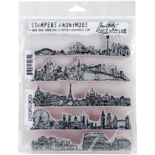 """Tim Holtz Cling Stamps 7""""X8.5""""-Cityscapes"""
