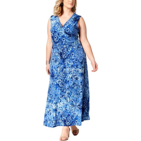 NY Collection Womens Plus Maxi Dress Petite Printed