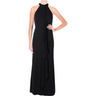 Calvin Klein Womens Evening Dress Cascade Ruffle Beaded