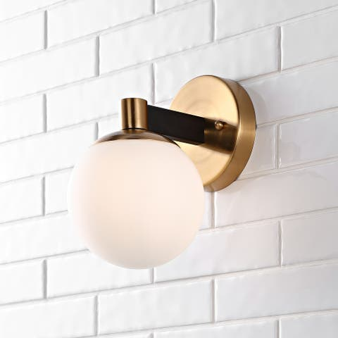 Modernist Metal/Frosted Glass LED Vanity Light, Gold/Black by JONATHAN Y
