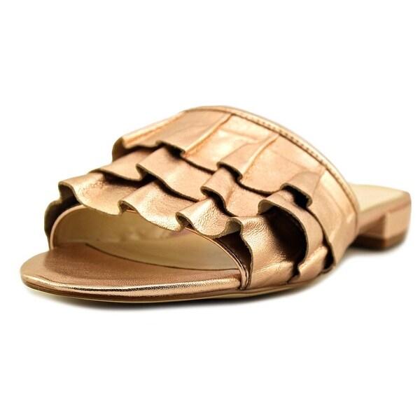 Nine West Ivarene Women Open Toe Leather Pink Slides Sandal